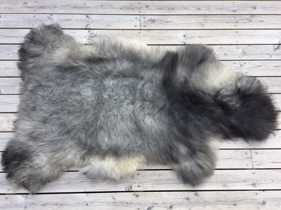 Large long haired sheepskin rug spael sheep throw pelt grey gray black yellow 19075
