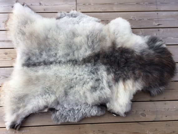 Real Sheepskin natural sheep rug supersoft pelt rugged throw from Norwegian norse breed medium locke length skin  htey brown 19104