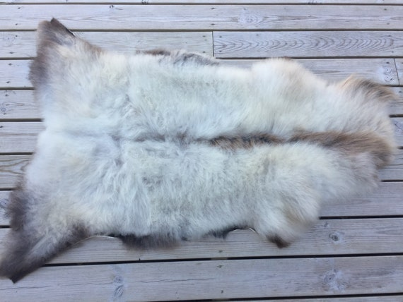 Real natural Sheepskin rug supersoft pelt rugged throw from Norwegian norse breed short haired sheep skin grey gray brown 18101