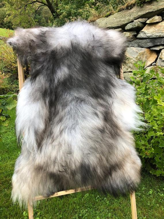 long haired pelt sheepskin rug spael sheep throw grey brown 21223