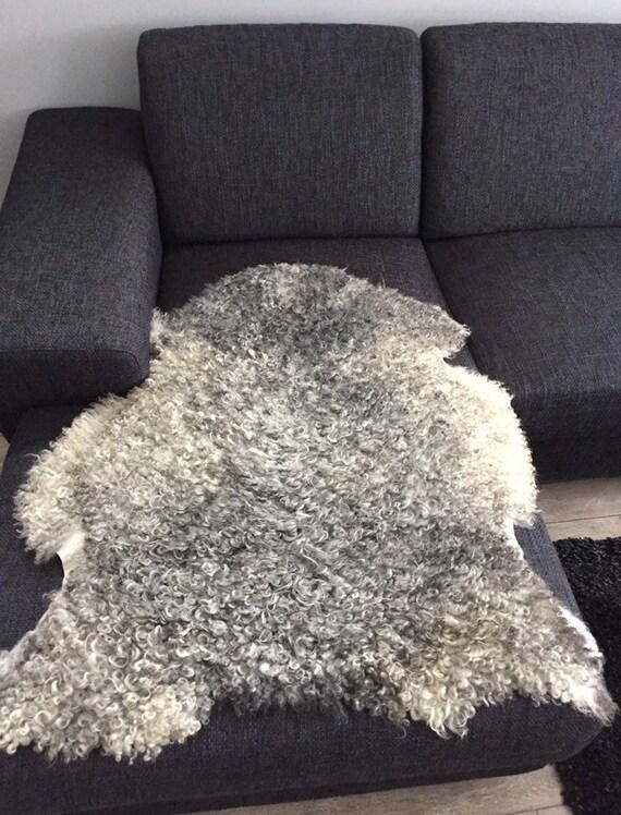 Large supersoft sheepskin exclusive rug beautiful Norwegian pelt sheep skin curly grey yellow throw 19143