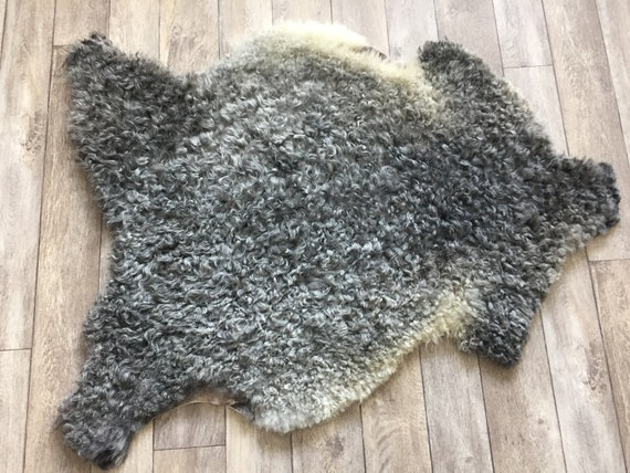 Supersoft sheepskin exclusive rug beautiful Norwegian pelt sheep skin curly grey throw 19010