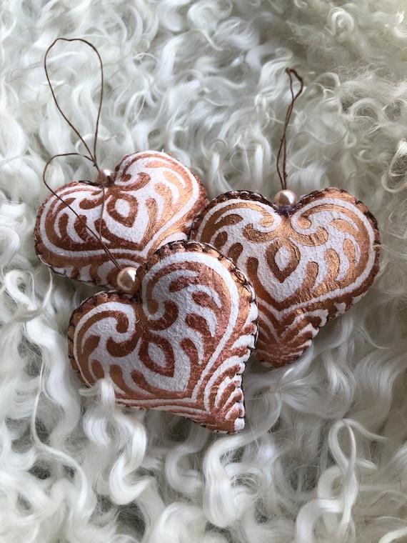 3 decorative copper hearts, sheepskin ornaments small