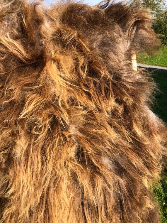 Rugged Sheepskin rug soft, volumous throw natural sheep skin Norwegian pelt greyish brown 20088