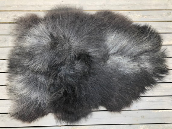 Long haired Sheepskin natural rug trendy pelt rugged throw from Norwegian breed sheep skin black grey 20050