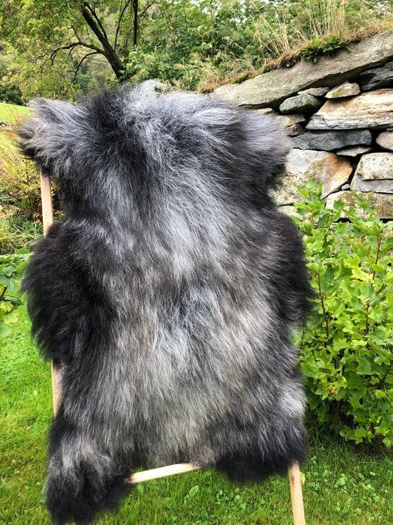 long haired pelt sheepskin rug spael sheep throw grey brown black 21227