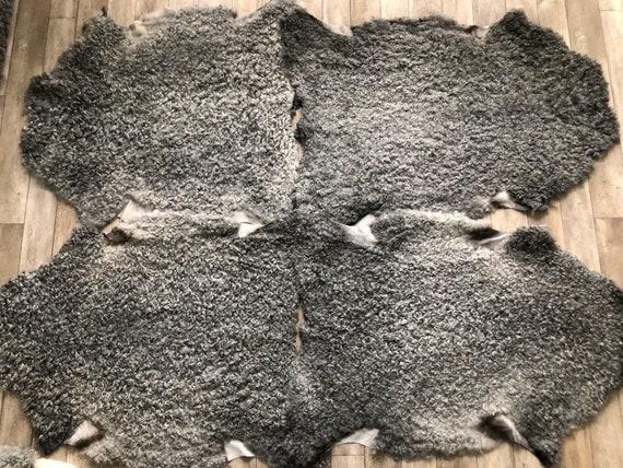 4 exclusive Gotland sheepskin rugs, set of 4 pelts curly matching grey wool set no 2110