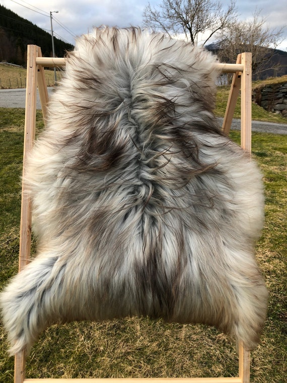 Lush pelt Long haired Sheepskin natural rug supersoft pelt rugged throw from Norwegian breed sheep skin brown grey 21120