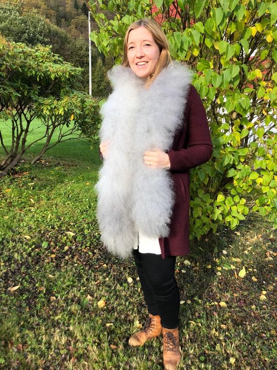 Sheepskin scarf grey boa sheep fur scarf handmade