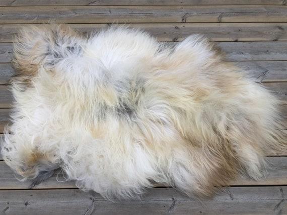 long haired pelt sheepskin rug spael sheep throw brown grey white 20113