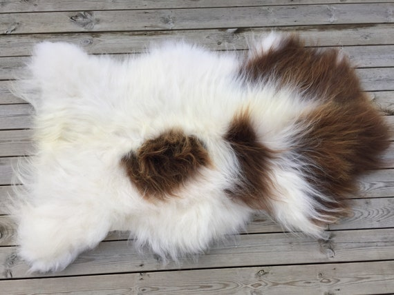 Spotted, long haired, large sheepskin rug spael sheep throw pelt brown white 18154