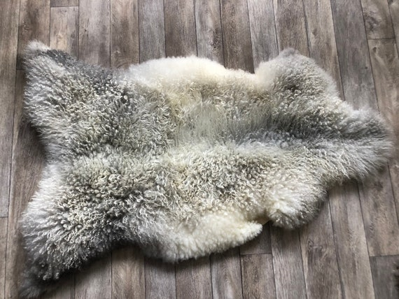 Large long haired pelt curly sheepskin rug supersoft Norwegian sheep throw grey yellow brown- 21049