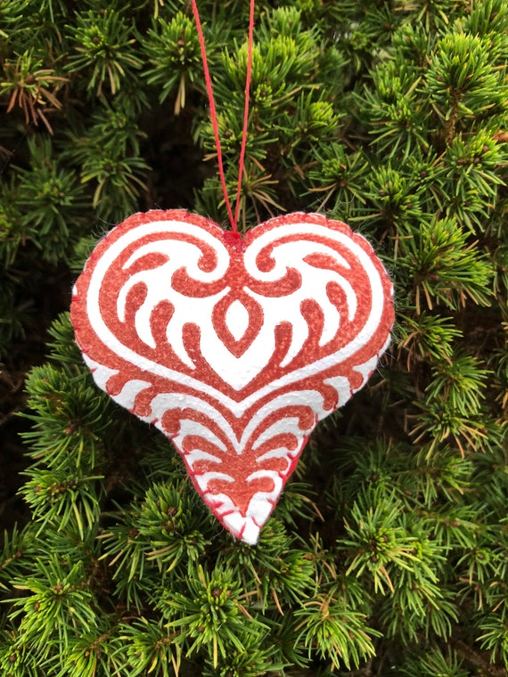 3 decorative red hearts, sheepskin ornaments small