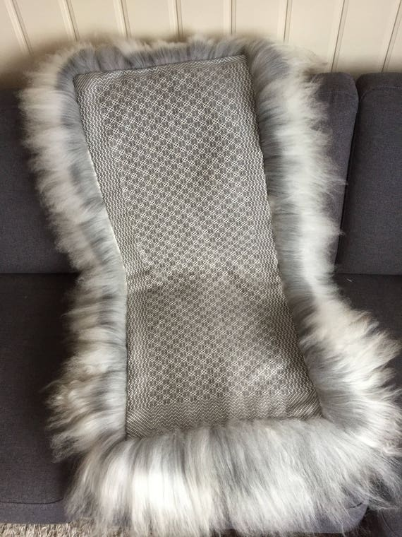 Sheepskin rug with hand woven cloth on back side hand made skinfell Norwegian traditional sheep skin blanket grey free shipping