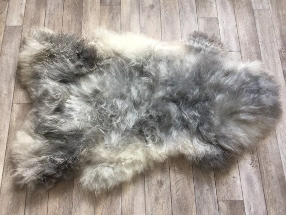 Supersoft sheepskin exclusive rug beautiful Norwegian pelt sheep skin curly grey yellow throw 19020