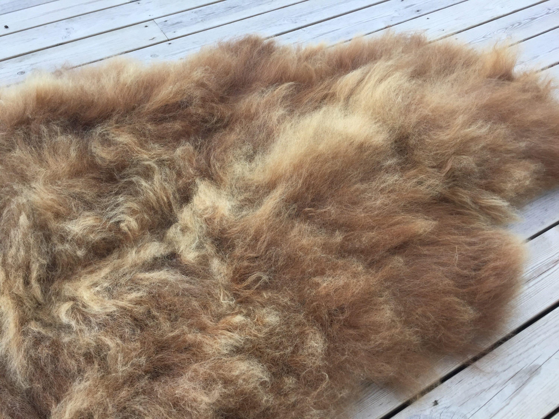 Large Brown Sheepskin Rug Soft Volumous Throw Natural