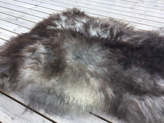 Long haired sheepskin rug spael sheep throw pelt grey gray brown black 19065