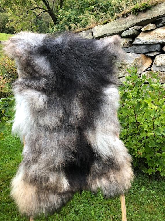 XL long haired pelt sheepskin rug spael sheep throw grey brown 21237