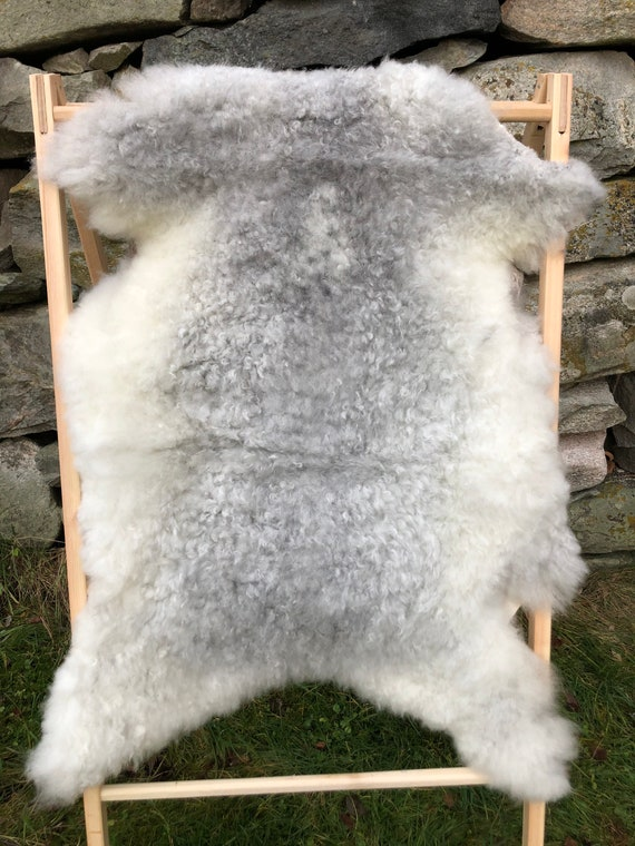 Rare sheepskin exclusive rug beautiful Norwegian pelt soft sheep skin curly grey throw 20170