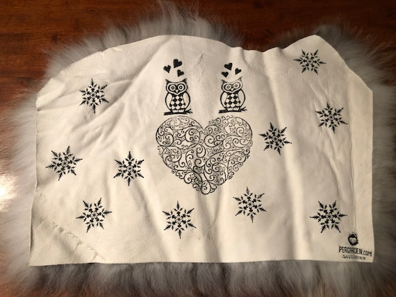 Seat cover sheepskin chair pad wool owl hearts decoration fur cushion
