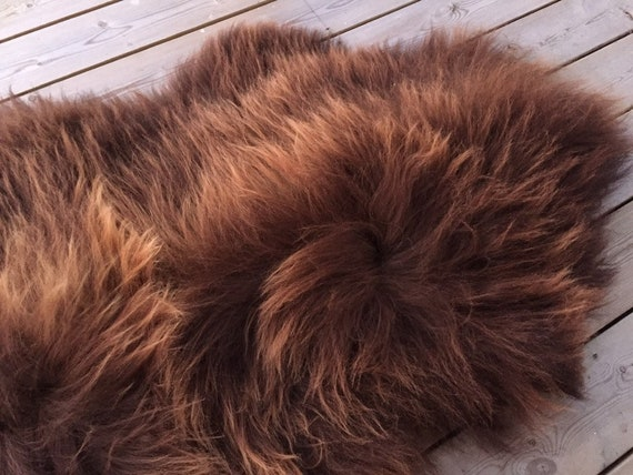 Long haired Sheepskin natural rug supersoft pelt rugged throw from Norwegian breed sheep skin brown 19122