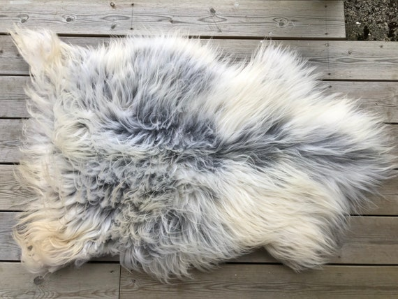 Norse Sheepskin natural rug supersoft pelt rugged throw from Norwegian breed small sheep skin grey yellow 21134