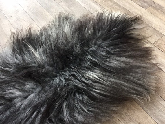 Long haired Sheepskin natural rug supersoft pelt rugged throw from Norwegian breed sheep skin  dark grey 19055
