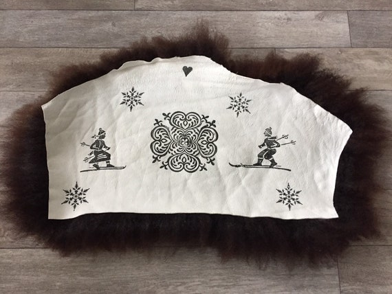 Sheepskin chair pad decorative cover seat cushion hand printed
