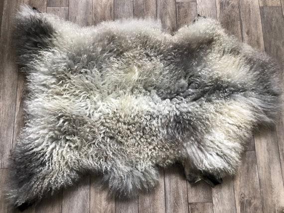 long haired pelt curly sheepskin rug supersoft Norwegian sheep throw grey yellow brown 21056