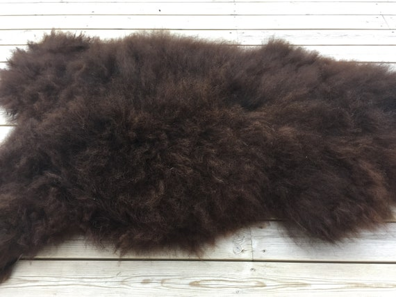 Natural dark brown Sheepskin rug soft, volumous throw sheep skin long haired Norwegian pelt 18144