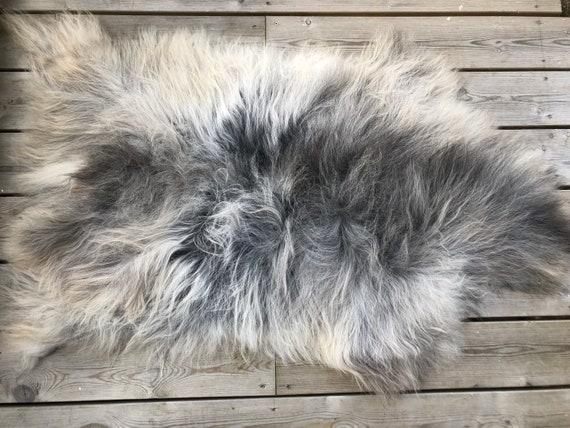Norwegian Sheepskin natural rug soft pelt rugged throw from norse breed  short wool sheep skin yellow grey 21189