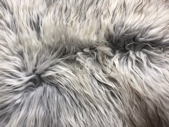 Long haired Sheepskin natural rug supersoft pelt rugged throw from Norwegian breed sheep skin grey yellow brown 19060