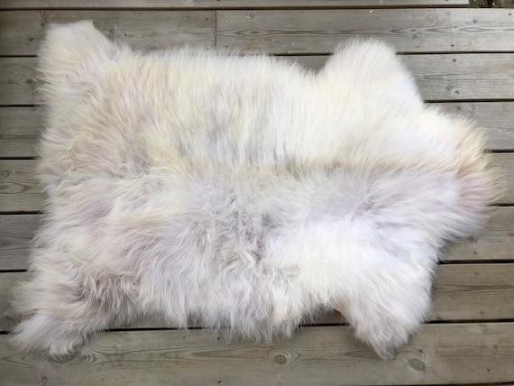 Genuine Sheepskin natural rug soft pelt rugged throw from Norwegian norse breed  short wool sheep skin yellow grey 21176