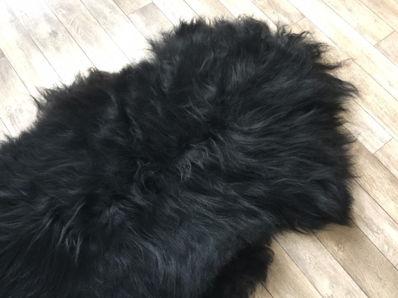 Black sheepskin long haired rug spael sheep throw 19051