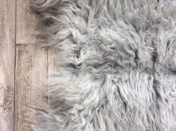 Long haired Sheepskin natural rug supersoft cradle rug baby throw from Norwegian breed sheep skin grey 19086