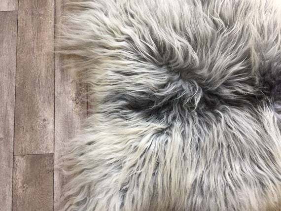 Long haired Sheepskin natural rug supersoft pelt rugged throw from Norwegian breed sheep skin grey gray  19052