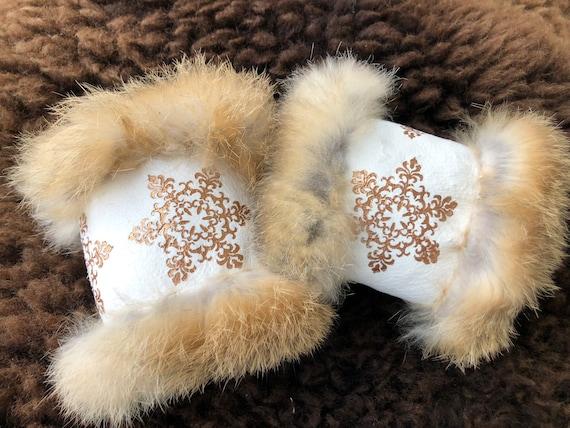 Wrist warmers hand stitched arm warmers rabbit fur with ornamental prints size small