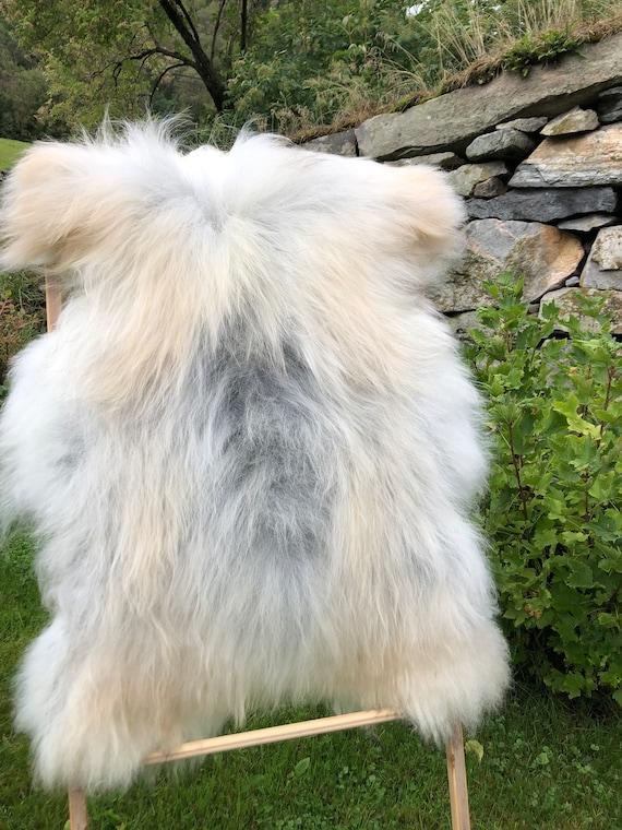 long haired pelt sheepskin rug spael sheep throw grey brown 21238
