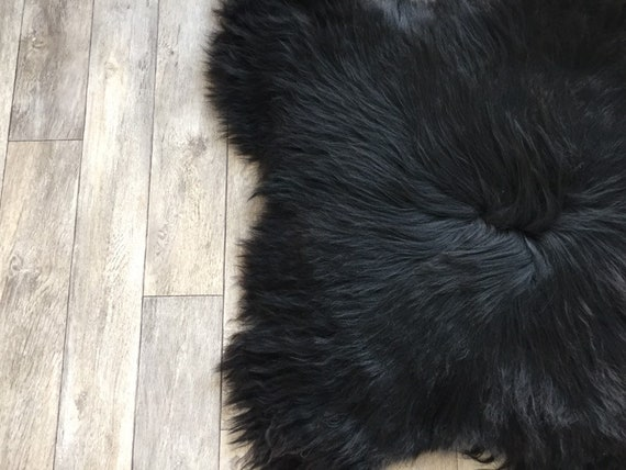 Black sheepskin long haired rug spael sheep throw 19050