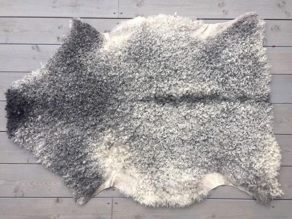 Large supersoft sheepskin exclusive rug beautiful Norwegian pelt sheep skin curly grey throw 19139