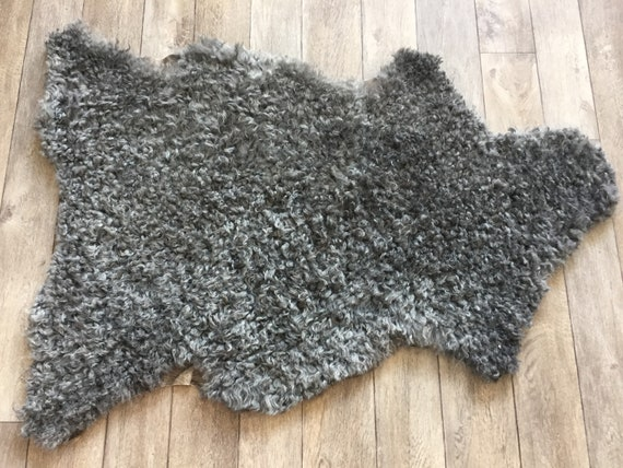 Supersoft sheepskin exclusive rug beautiful Norwegian pelt sheep skin curly grey throw 19007