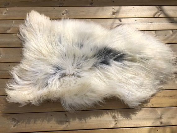 Long haired Sheepskin natural rug supersoft pelt rugged throw from Norwegian breed sheep skin white grey yellow 20034