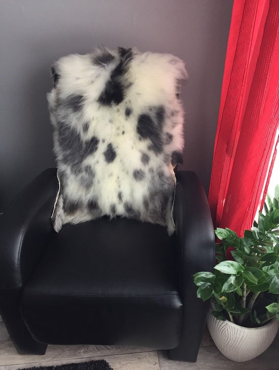 Real natural Sheepskin rug supersoft pelt rugged throw from Norwegian norse breed medium locke length sheep skin black grey white 19140