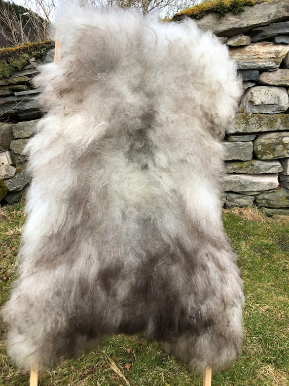 XXL Long haired Sheepskin natural rug supersoft pelt rugged throw from Norwegian breed sheep skin grey brown 21144