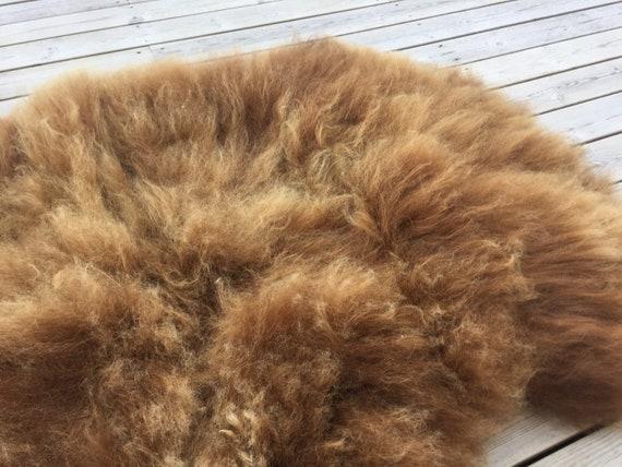 Brown Sheepskin rug soft, volumous throw natural sheep skin long haired Norwegian pelt 18147