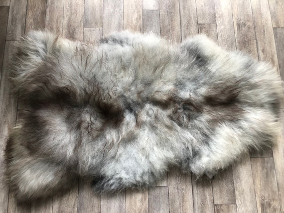 Large pelt Long haired Sheepskin natural rug supersoft pelt rugged throw from Norwegian breed sheep skin grey brown 21059