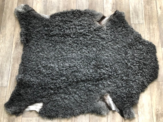 Exclusive Gotland sheepskin curly grey sheep pelt beautiful sheep skin hide 21209