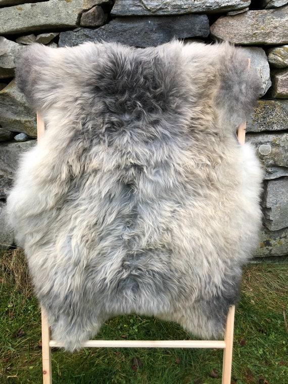 long haired pelt sheepskin rug Norwegian sheep throw brown golden grey - 20156