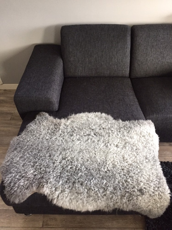 Supersoft sheepskin exclusive rug beautiful Norwegian pelt sheep skin curly grey throw 19023
