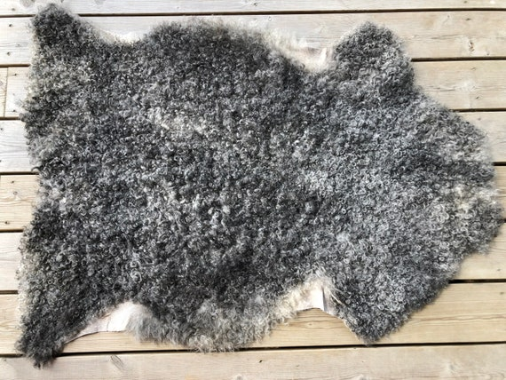supersoft sheepskin exclusive rug beautiful Norwegian pelt sheep skin curly grey throw 20070